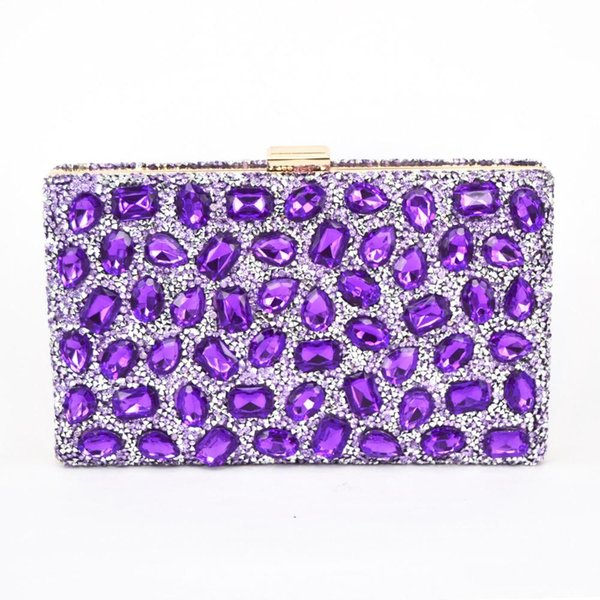 Wholesale-Fashion Purple Crystal Glass Clutch Bag Women Diamond Evening Bag Sparkly Bling Handbag Wedding Party Clutches banquet bag