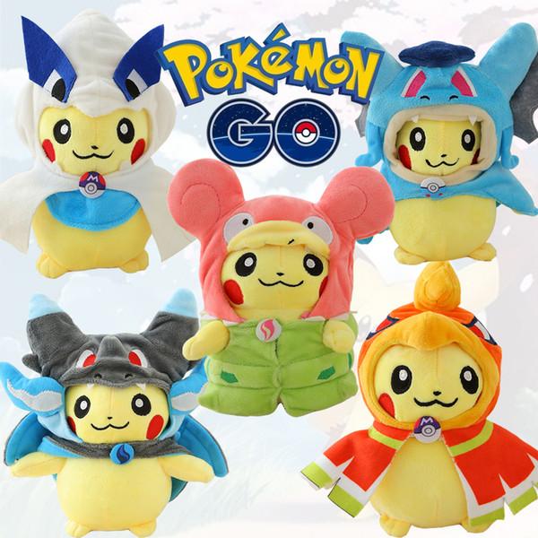 Atacado-Cartoon brinquedos de pelúcia Pikachu Cosplay Pikachu Mega Charizard algodão Stuffed Animals Dolls crianças brinquedos presentes de Natal para crianças