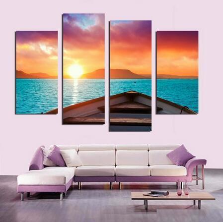 Acheter Sans Cadre 4 Panneau Moderne Bord De Mer Coucher De Soleil Paysage Peinture Photo Cuadros Toile Art Paysage Marin Peinture Pour Salon De