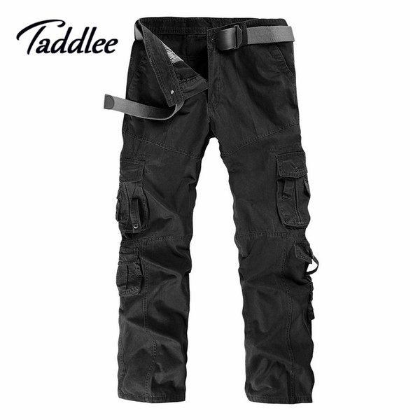Wholesale-Men Man Cotton Combat Multi-Pockets Khaki Casual Loose Long Full Length Cargo Pants Mens Work Trousers Camouflage Large Size