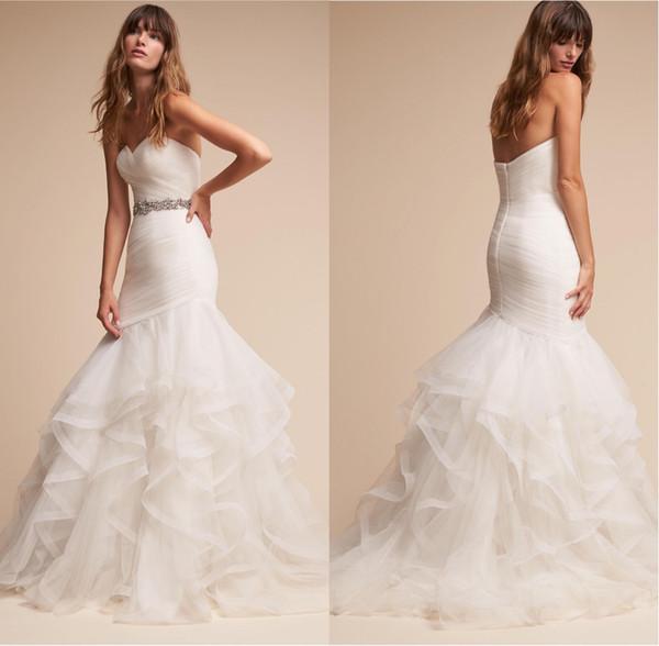 New Coming 2018 Mermaid Wedding Dresses Winter Sweetheart Ruffle Wedding Gown Bride Dresses Dropped Waist vestidos novia