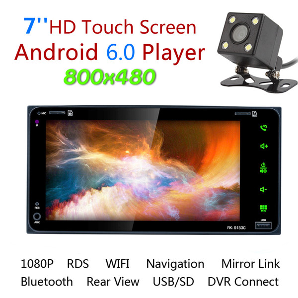 7 Inch RDS Android GPS Navigation Bluetooth Car Stereo Video Player Radio Touch Screen Support Mirror Link + Rearview Camera for Toyota Camr