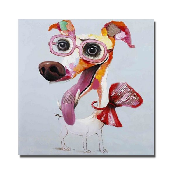 Free shipping fashion dog acrylic pop art dog chien oil painting for modern home goods decor abstract canvas art
