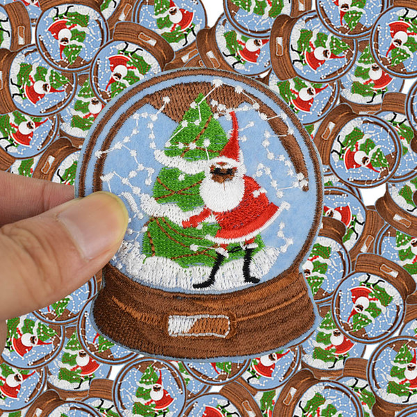 Diy Christmas crystal ball patches for clothing iron embroidered patch applique iron on patches sewing accessories badge sticker
