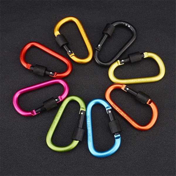 Carabiner Locking Keyrings Key Chain Outdoor Sports D Shape Camp Hook Keychain Hiking Aluminum Backpack Buckle Mountaineering Carabiner