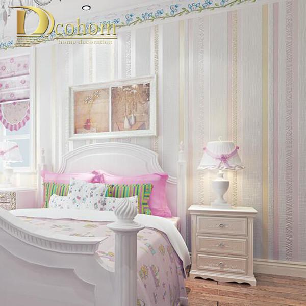 Großhandel Großhandels Einfache Gemütliche Blaue Rosa Glitter Moderne  Gestreifte Tapete Für Kinderzimmer Schlafzimmer Geprägte Strukturierte  Streifen ...