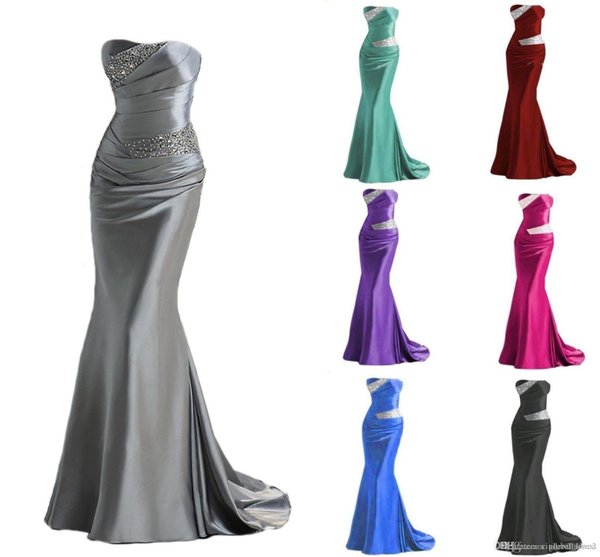 top popular Hot Selling 2019 Silver Grey Burundy Mermaid Bridesmaid Dresses Cheap Long Maid of Honor Dress Evening Prom Gowns Lace Up Beading 2019