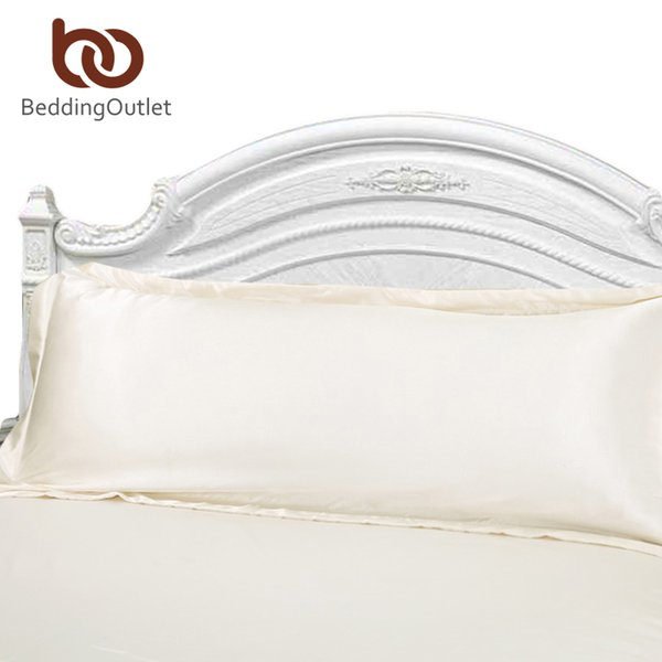 Wholesale- Direct Selling Long Pillowcase White Solid Pillow Case Cover Silk Satin Fabric Home Textile 1pc 2 Size for Bedroom