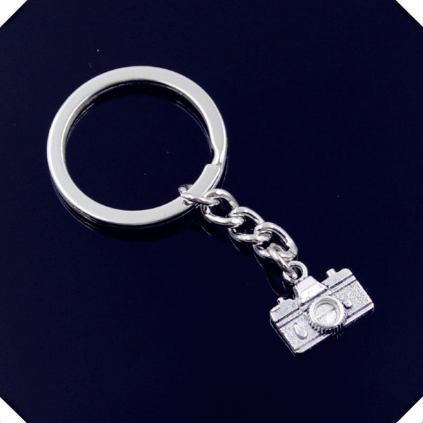 new-fashion-men-30mm-keychain-DIY-metal-holder-chain-vintage-camera-15-14mm-antique-silver-pendant key rings