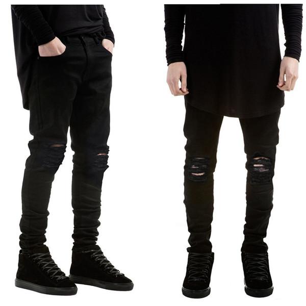Nova marca de moda homens jeans preto magro rasgado estiramento magro kanye west hip hop swag denim motociclista calças de corrida
