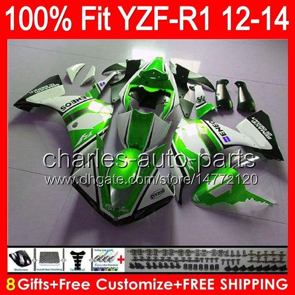 gloss green 8gifts Injeção Para YAMAHA YZF-R1 12 13 14 YZF R1 12-14 96NO119 YZF 1000 YZF R 1 YZF1000 YZFR1 2012 2013 2014 TOP preto Carenagem