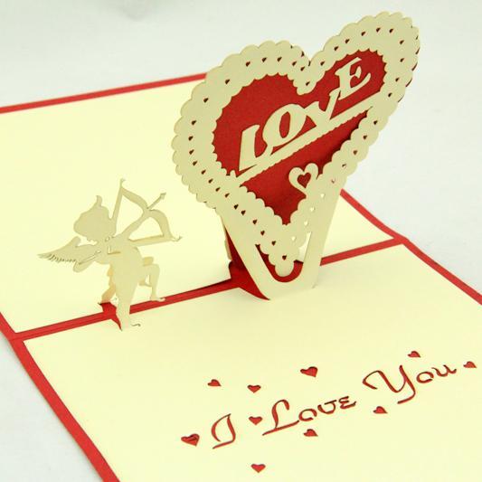 Toptan-Cupid aşk pop up kartı / 3D kirigami kart / el yapımı tebrik kartları Seni seviyorum sevgililer günü Ücretsiz kargo