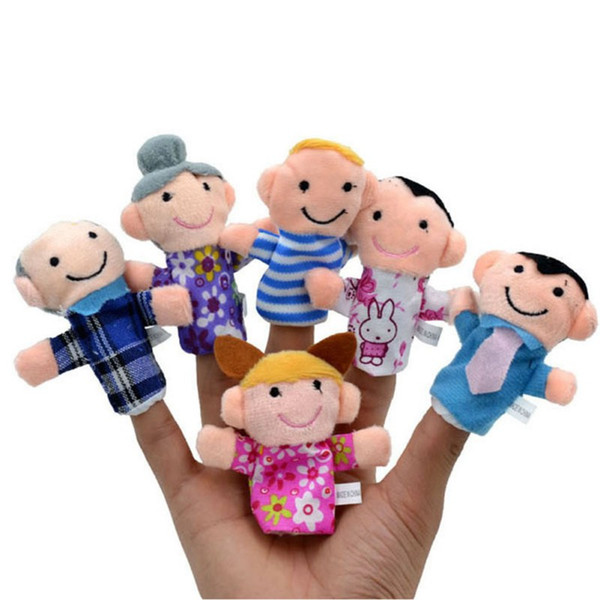 best selling 6pcs set Over 3Y Toys For Children Finger Puppets Learn Story Family Kids Toy Plush Play Game Sleeping