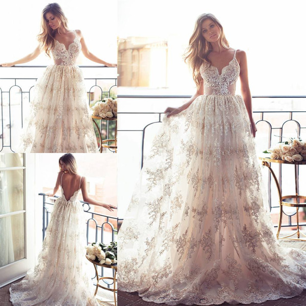Discount Bohemian Lurelly Backless Wedding Dresses Lace Appliqued ...