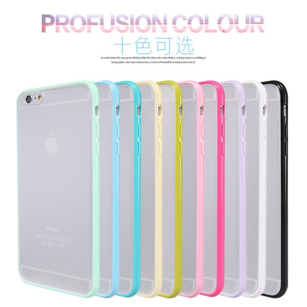 Fashion Slim Colorful TPU Frame Clear Case For iPhone 6 6S 4.7 Transparent Matte Hard Phone Back Cover For iPhone 6 6S Plus 5.5