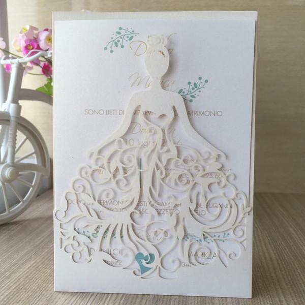 Venta al por mayor-caliente 50Pcs / lot delicado tallado vestido hermoso de la muchacha Tarjeta de invitación de boda romántica para la fiesta de bodas de cumpleaños de negocios