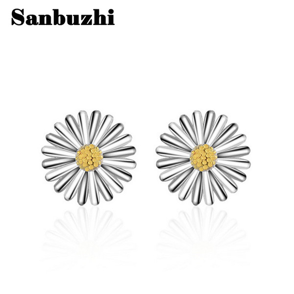 Sanbuzhi Brand New Arrival Fashion Silver Flower Stud Earrings Use Rhodium Plated Process For Women Free Shipping ZE79