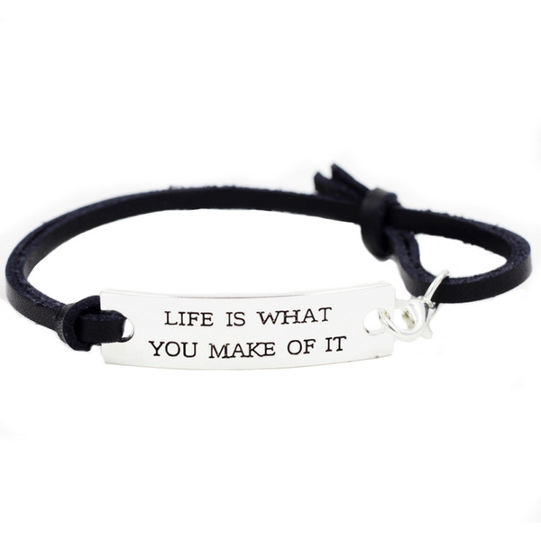 """""""Life Is What You Make Of It"""" Novelty Silver Stamped Motivation Inspirational Bracelet Gifts For Women Men Girls Ladies"""
