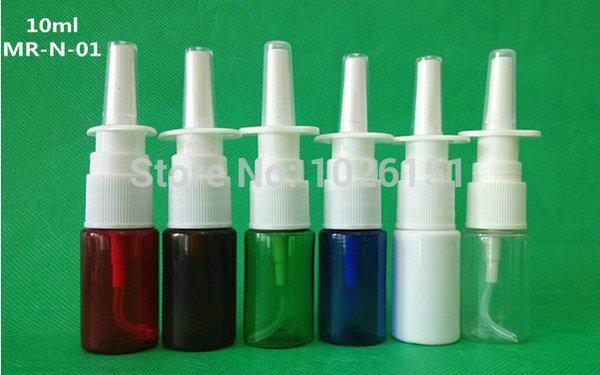 100 + 5 Sets / lote 10 ml botella plástica de aerosoles nasales, atomizadores nasales de 10 cc PE, aplicadores de aerosol orales de 1/3 oz (6 colores a elegir)