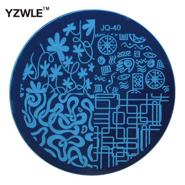 Al por mayor-YZWLE 1 piezas de placa de acero inoxidable sello de imagen de estampado de placas de bricolaje plantilla de manicura herramientas de esmalte de uñas (JQ-40)
