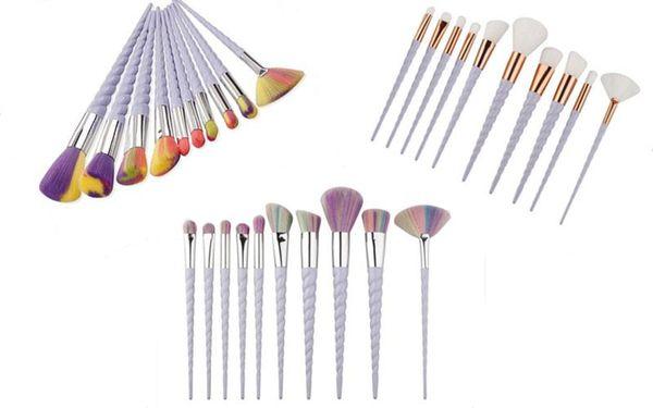 Rainbrow Makeup Brushes Set 10pcs/set Spiral Shell Colorful Brushes Professional Powder Tool Thread Cosmetic Brush Kit 3 colors UPS ship