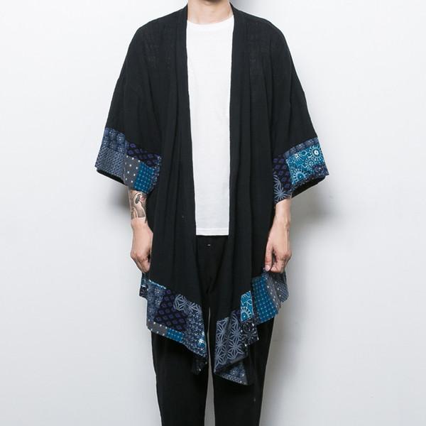 Atacado- China estilo dos homens de linho de algodão trincheira jaqueta longa kimono windbreaker casaco masculino casaco cardigan solto xale