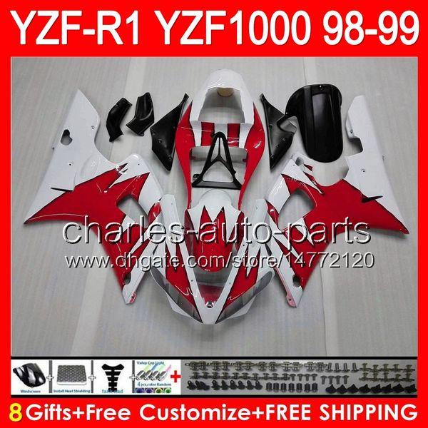 8years Vücut YAMAHA YZFR1 98 99 YZF1000 YZF-R1 98-99 90NO69 parlak kırmızı YZF 1000 YZF-1000 YZF R 1 YZF R1 1998 1999 ÜST kırmızı siyah Fairing