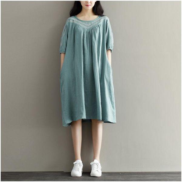 49e20dfe02 Casual Loose Dress 2016 Hot Summer Women Embroidery Short Sleeve Mori Girl  Cotton Linen Dress Plus