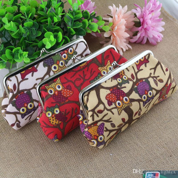 Newest Long Purse Owl Pattern Ladies canvas print coin purse key wallet phone case canvas bag Coin keychain keys wallet Purse
