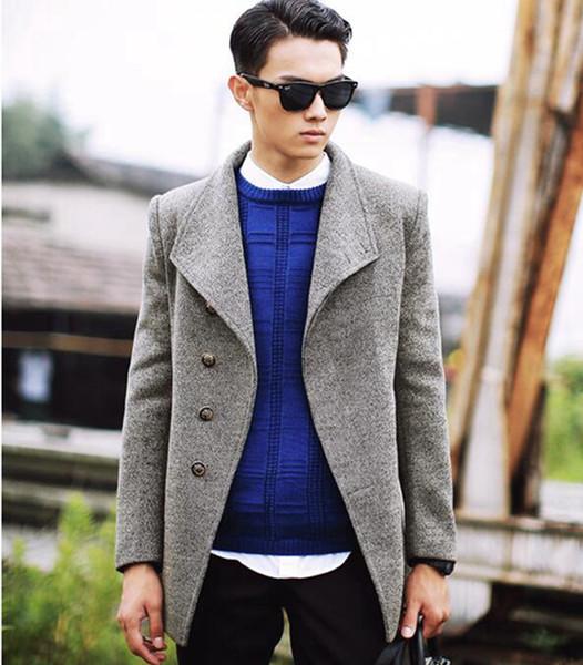 Outono / inverno dos homens na Europa e a nova boutique han edição de pano de lã de alta qualidade da Inglaterra trench coat / M-2XL