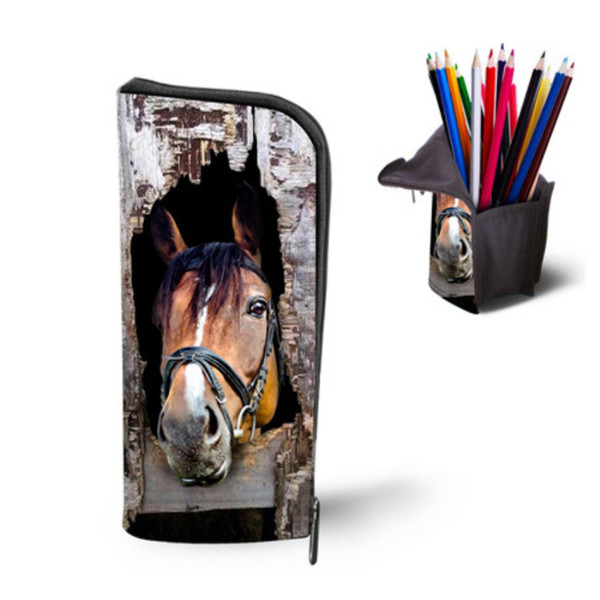 All'ingrosso- FORUDESIGNS Women Multi-Function Custodia per il trucco Cool Horse Print Kids Pencil Bags per la scuola ragazza Animal Travel Cosmetic Organizer