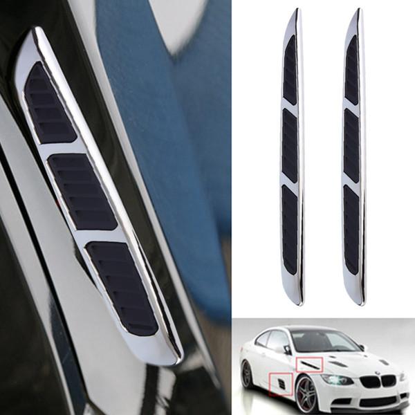 Wholesale- 2 pcs Super 3D Silver Car Chrome Grille Shark Gill Simulation Air Flow Vent Fender Sticker