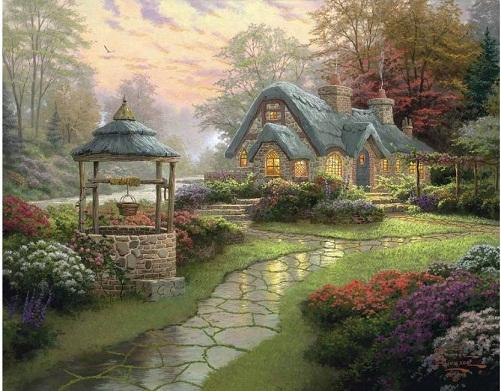 Framed Make a Wish Cottage,High Quality Genuine Hand Painted Thomas Kinkade Art oil Painting On Thick Canvas Multi sizes Free Shipping Ls009