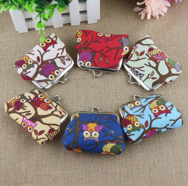 Fashion Women's Cute Multi-colors Owl Printed Coin Purse Wallets Canvas Pouch Money Bag DHL free ship