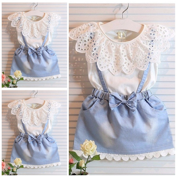 Girls Dress Princess Dresses Skirt Set 2PCS Baby Clothes White Sleeveless T-shirts Tops Bowknot Laced Suspenders Skirts Kids Clothing XY502