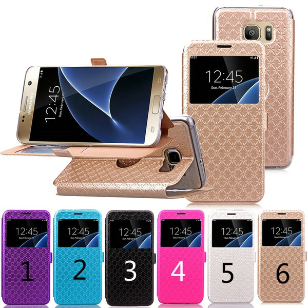Flip case for samsung galaxy s7 edge with open window pu+tpu leather mobile cell phone wallet cover case protector with kickstand
