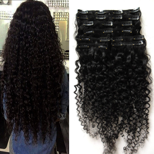 top popular Peruvian clip in hair extensions 100g 100g 8pcs kinky curly african american clip in human hair extensions 2019