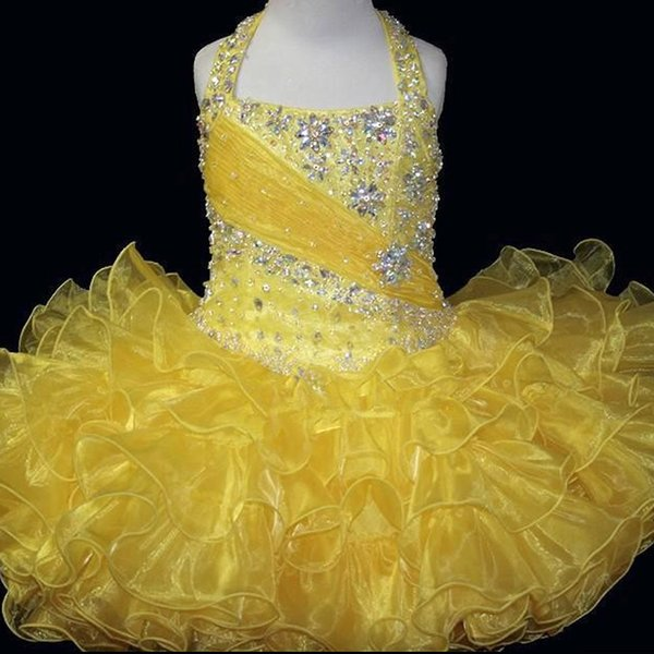 Hot Sale 2017 New Bling Bling Yellower Flower Girl Dresses Girl Party Dress Kids Evening Gowns Cheap In Stock Free Shipping