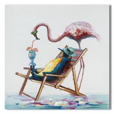 Framed BIG Canvas Flamingo Penguin Beach,100% Handcraft Animal art oil painting on High Quality canvas,Multi sizes,Free Shipping A041