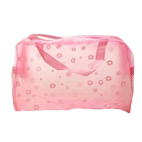 Wholesale- FGGS-Floral Print Transparent Waterproof Cosmetic Bag Toiletry Bathing Pouch Pink