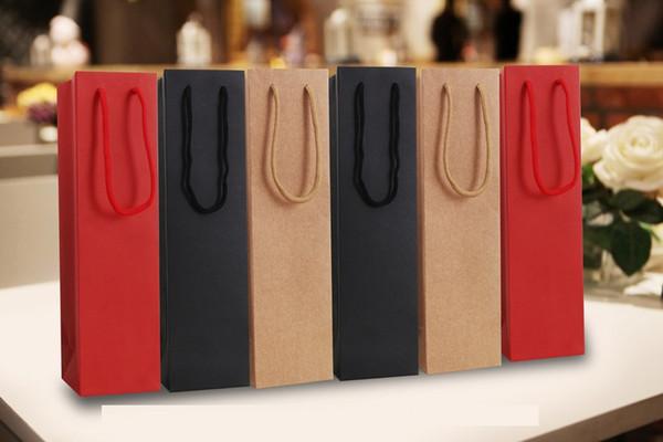 40pcs Paper Wine Bags Red Black Kraft Paper Hot-stamping logo Package Oliver Oil Champagne Bottle Carrier Gift Holder