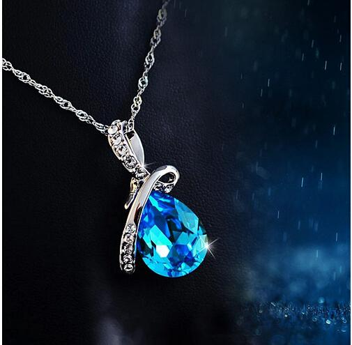 Fashion Blue Crystal Water Drop Pendant Necklace Rhodium Plated Zircon Necklaces & Pendants For Women (Jewelora NE100982)