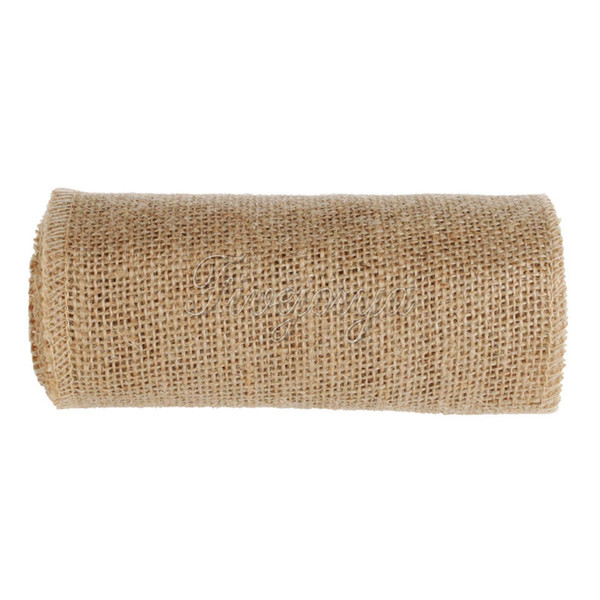 10M*15CM Vintage Jute Burlap Roll Hessian Table Runner Wedding Chair Bands Sash Christmas Holiday Party Birthday Baby Show Garland Banquet H
