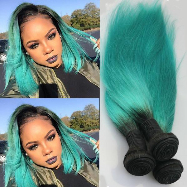 I capelli umani brasiliani del tessuto di prezzi all'ingrosso fasci le estensioni diritte indiane dei capelli umani malesi 1B / verde malesi dell'indiano
