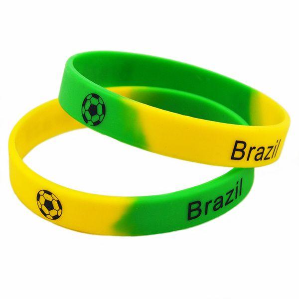 Wholesale 100PCS/Lot Printed Bangle Football Team Silicone Rubber Wristband Sport Bracelet Brazil Portugal Spain Frane