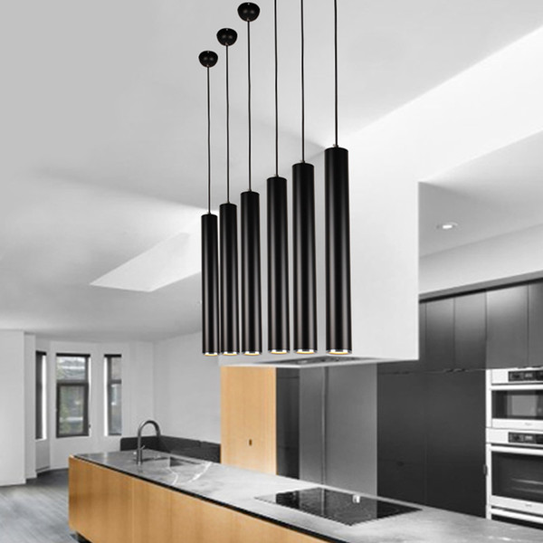 free shipping e12f3 0b2ad ED Black Pendant Lamp Lights Kitchen Island Dining Living Room Shop  Decoration, Cylinder Pipe Pendant Lights Kitchen Light Red Pendant Lighting  Low ...