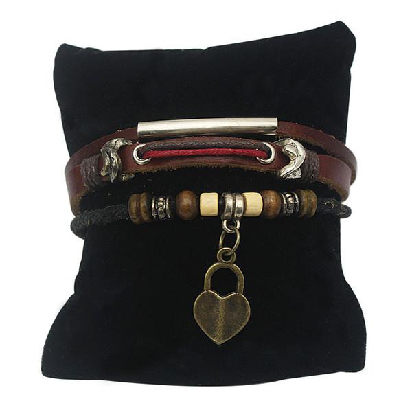 Bracelets à lacets en cuir Couples Amant Cuir Amitié Tissu Bracelets Bracelet en alliage avec des mots d'amour clé et pendentif coeur