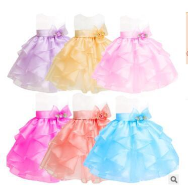 Girls TUTU Skirts Flower Tulle Pettiskirts Baby Solid Color Princess Dress Girls Kids Dancing Tulle Tutu Skirt Girl Dance Ballet Dress J221
