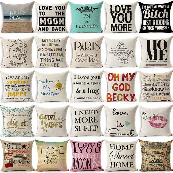 Romantic Quote Cotton Linen Square Pillow Cases Sofa Car Throw Pillow  Cushion Cover Home Decoration