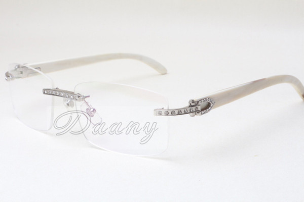 best selling Direct fashion, high quality Eyeglasses frame, Spectacle frame, T3524012, white natural rhinoceros horn, square diamond glasses, 58-18-140mm